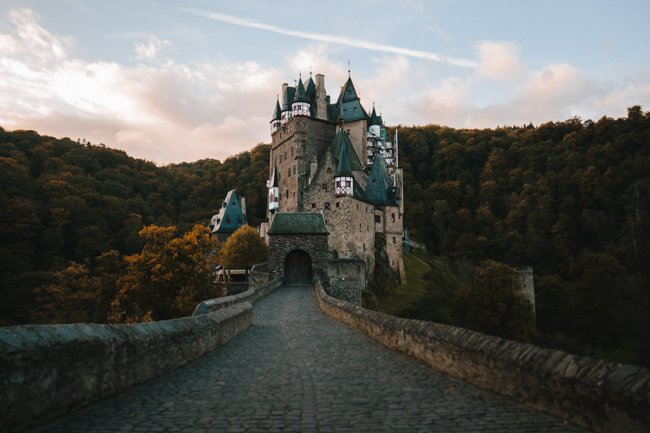 Epic Eltz Castle seen from the entrance bridge